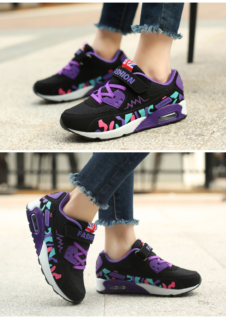 2019 Children Casual Shoes For Girls Running Comfortable Elastic Air Cushion Shoes Fashion Kids Sneakers Breathable Sport Shoes (11)