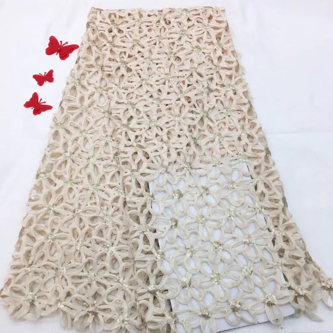 2018 Brown Farbe Afrikanisches Spitzegewebe Für Hochzeitskleid Hochwertige Französisch Spitze Stoff Mit Pailletten Nigerianischen Spitze Stoff RF27421