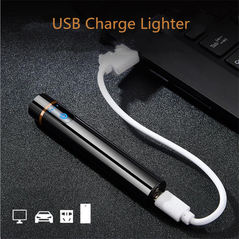 Mini USB Lighters Touch-senstive Switch Lighter Cigarette Lighter Windproof Flameless Rechargeable Electronic Lighter for Smoking hot