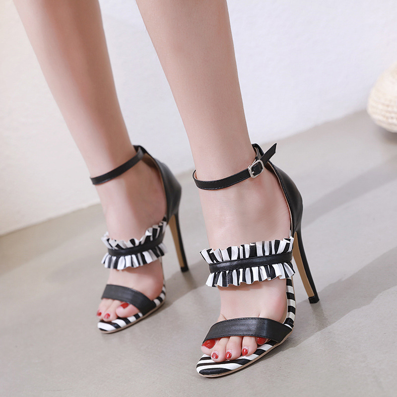 High Heels Sandals Woman Black White Striped Open Toe Party Ladies Shoes Summer Sexy Stiletto Ruffle Ankle Strap Sandals Women