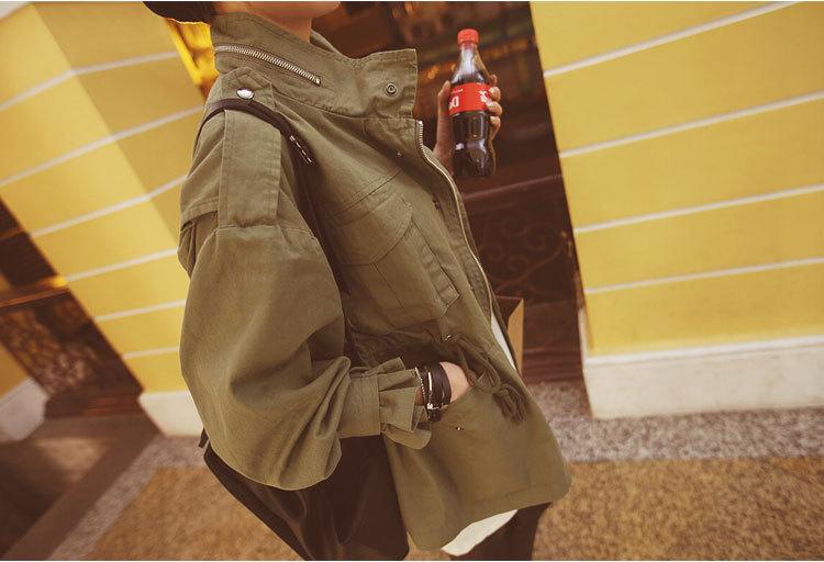 2019 Mujeres Oversize Army Green Jacket Epaulets de estilo militar Embellecido Moda Coreana Chaquetas sueltas Streetwear Y190827