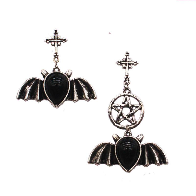 925 Sterling Silver Bat Halloween Gothic Stud Earrings Girl Women