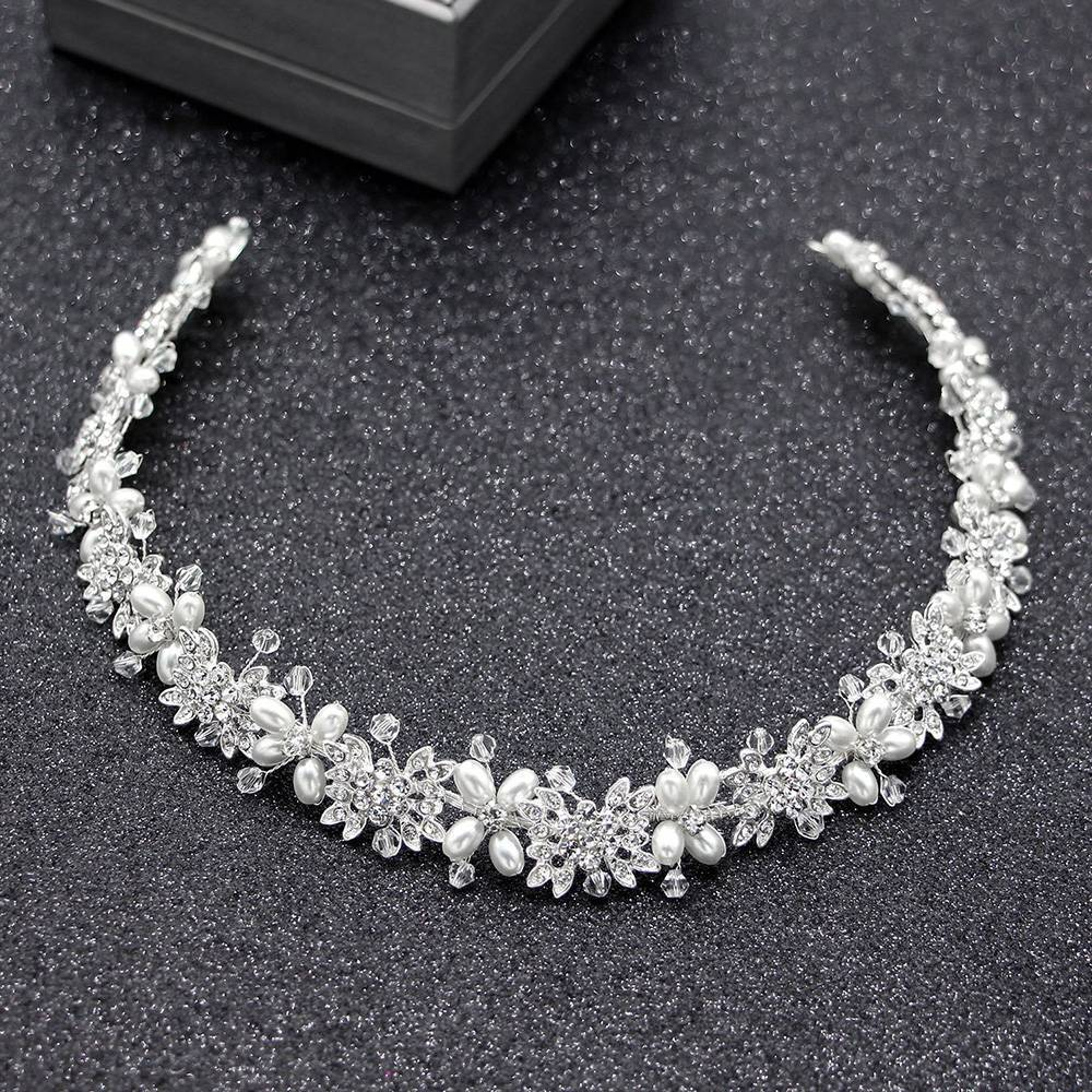 Silver Wedding Hair Vine Crystal Bridal Diamante Bridesmaid Hairband Headpiece
