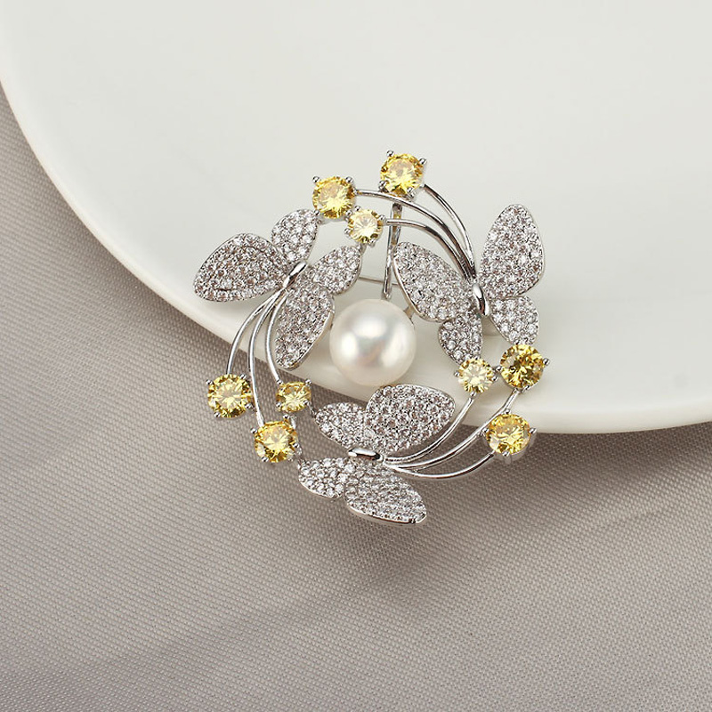 Luxury Colour Stone Flower Brooches for Women Accessories Natural Pearl Brooch Pins Crystal Jewelry for Female Wedding Scarf Pin