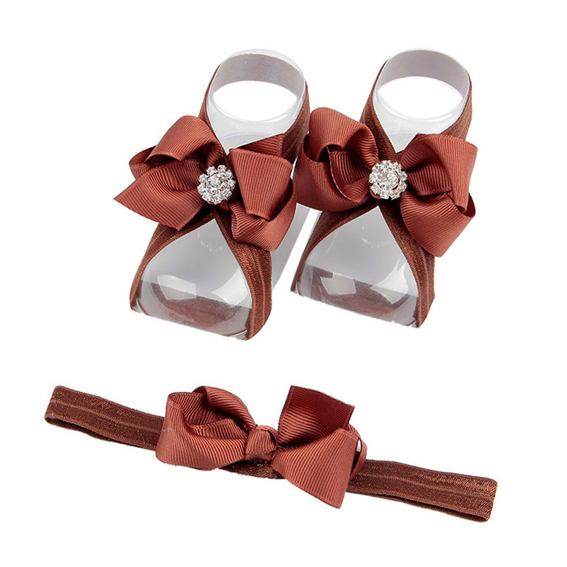 Fashion Baby Summer Beautiful Bowknot Barefoot Foot Flower Toddler Baby Foot Flower Anklet Baby Girl Sandals+Headband JE15#F (5)