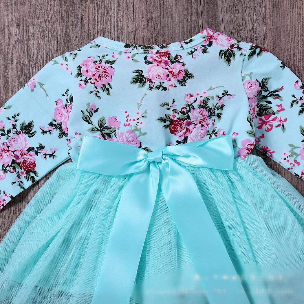 Fashion New Kids Girl's Wear O-neck Long Sleeve Floral 4 Layers Stretchy Waist Dress Fashion Girl Dress