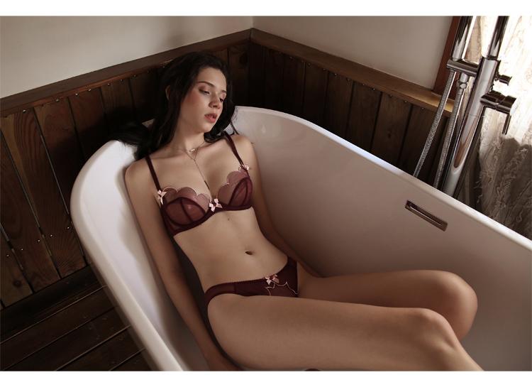 TERMEZY 2019 new Sexy Lace bar set ultra thin net gauze transparent Lingerie Set Push up brassier Fashion lace underwear (18)