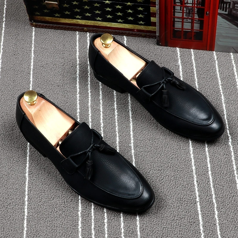 Fairy2019 Sharp Black Set Foot Loafer England Tassels Doug Shoe Male Hairstyle Division Trend Small Leather Shoes