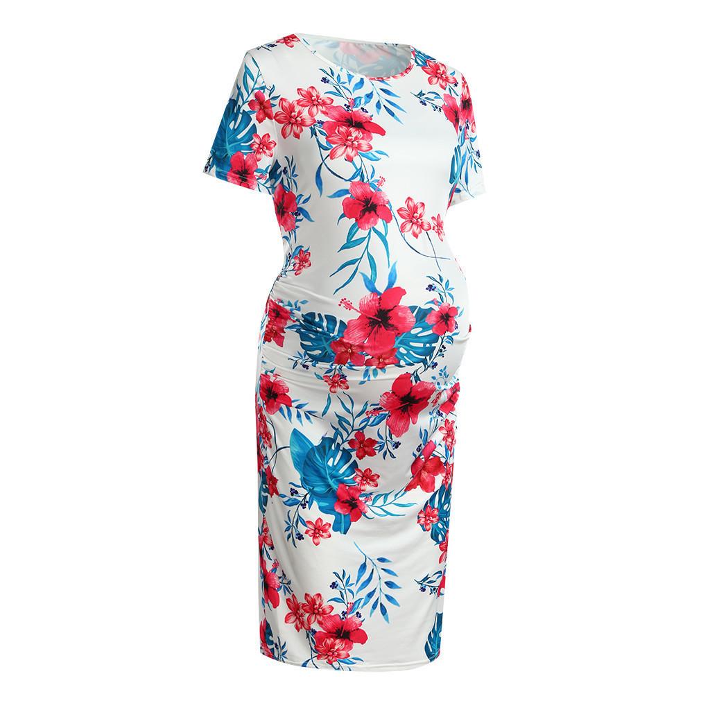 Hot Sale Maternity Dresses Women's Pregnanty Short Sleeve Summer Floral Print Slim Fit Dress Photography Props Premama Plus Size