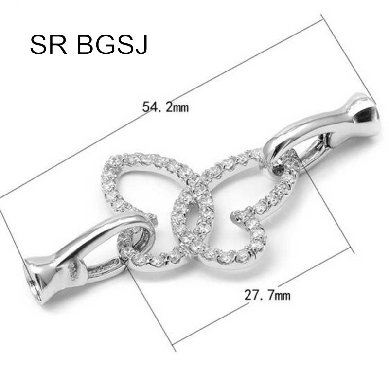 Micro Inlay Zircon Butterfly 925 Silver Necklace Hook Lobster Claw Diy Clasp