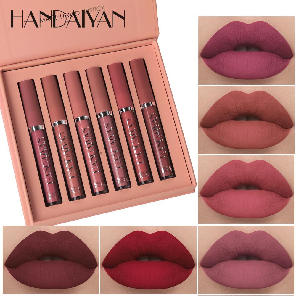 Hot 6Color/Set HANDAIYAN Lipstick Liquid Matte Waterproof Lip Gloss Long Lasting Pigment Nude Lip Set Sexy Velvet Lip Stick Kit
