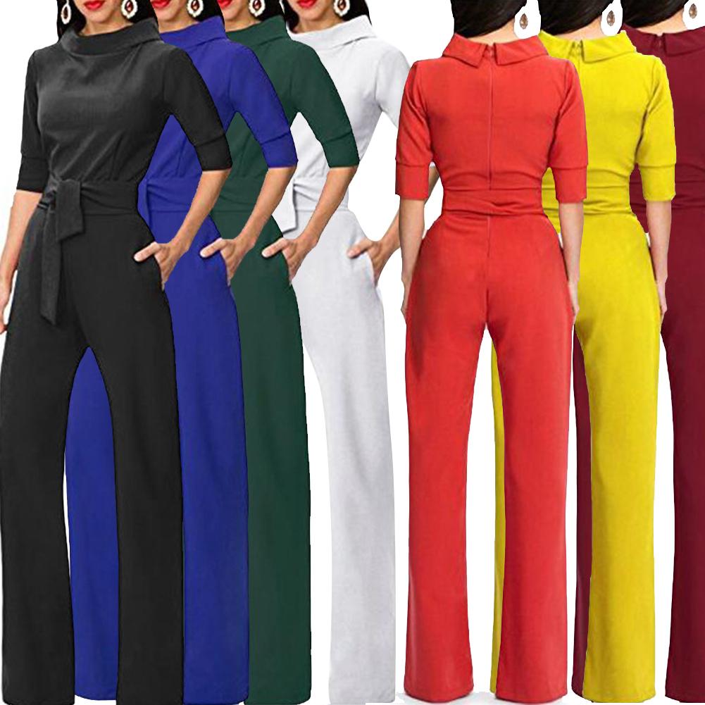 Tracksuit For Women Jumpsuit Elegant Rompers Turn Down Collar Wide Leg Pants Trousers Female Overalls Dungarees Ladies Pantsuit Y19051601
