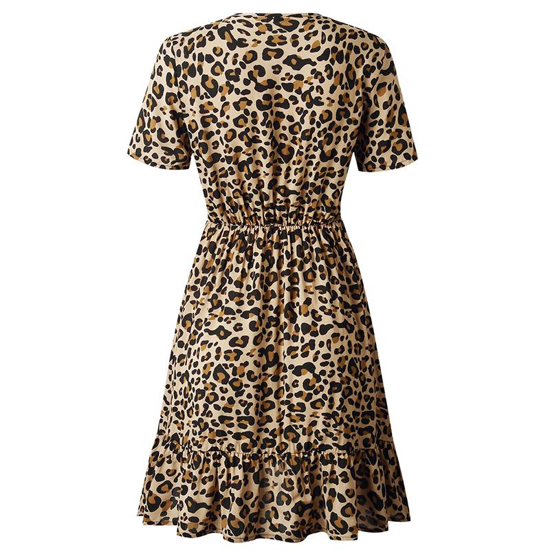 Forefair Print Leopard Dress sexy women short sleeve v neck Ruffle high waist Hem mini a line casual summer dress 2019 vestidos (23)