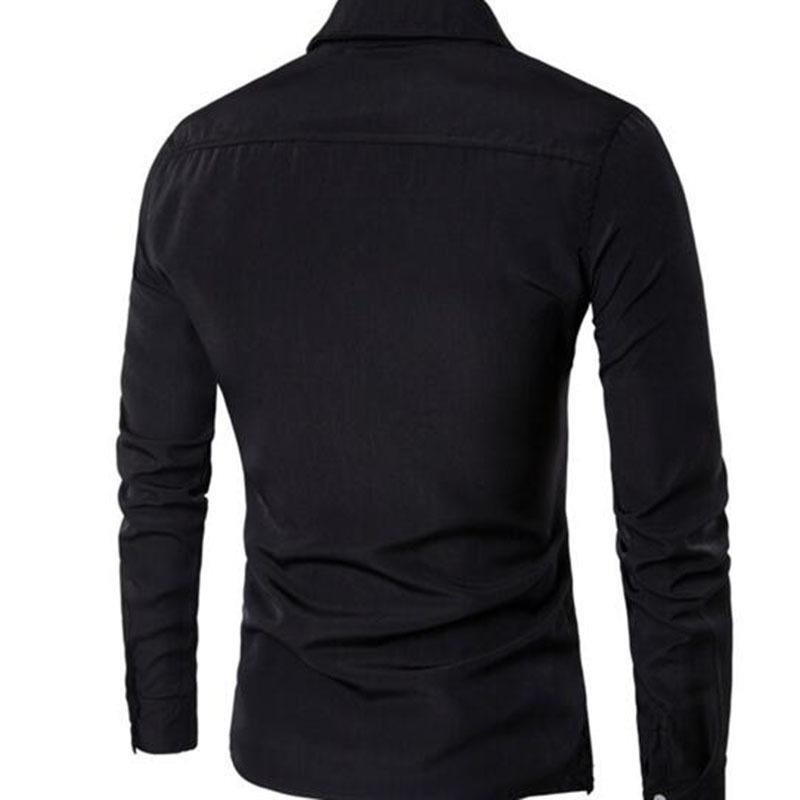 2018 Tuxedo Shirts Men Irregular Fashion Cotton Breathable Comfortable Shirts Blouses,england Style Turn-down Collar Shirts Y190506