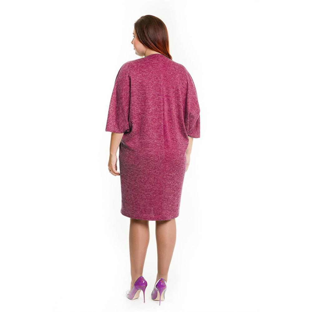 4XL 5XL 6XL Oversized Dress Summer Women Plus Size Dress Pocket O Neck Casual Loose Dress Big Size Elegant Vestido Blue/Burgundy