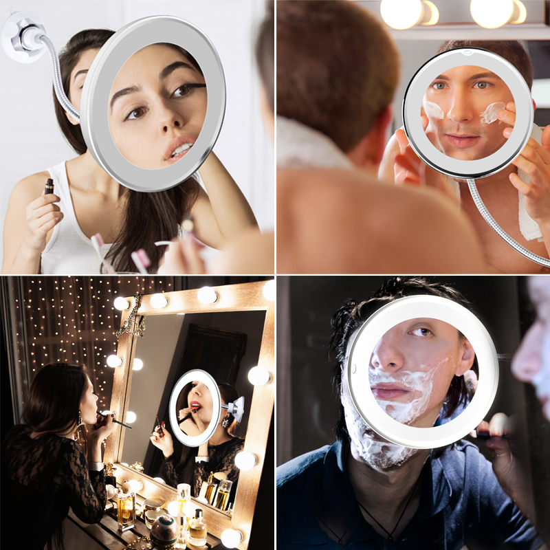 Makeup Mirror With 3 Luminosity LED Lights Make up Mirror 10X Magnifying Vanity Mirror Cosmetic Miroir Grossissant LED Dropship 3