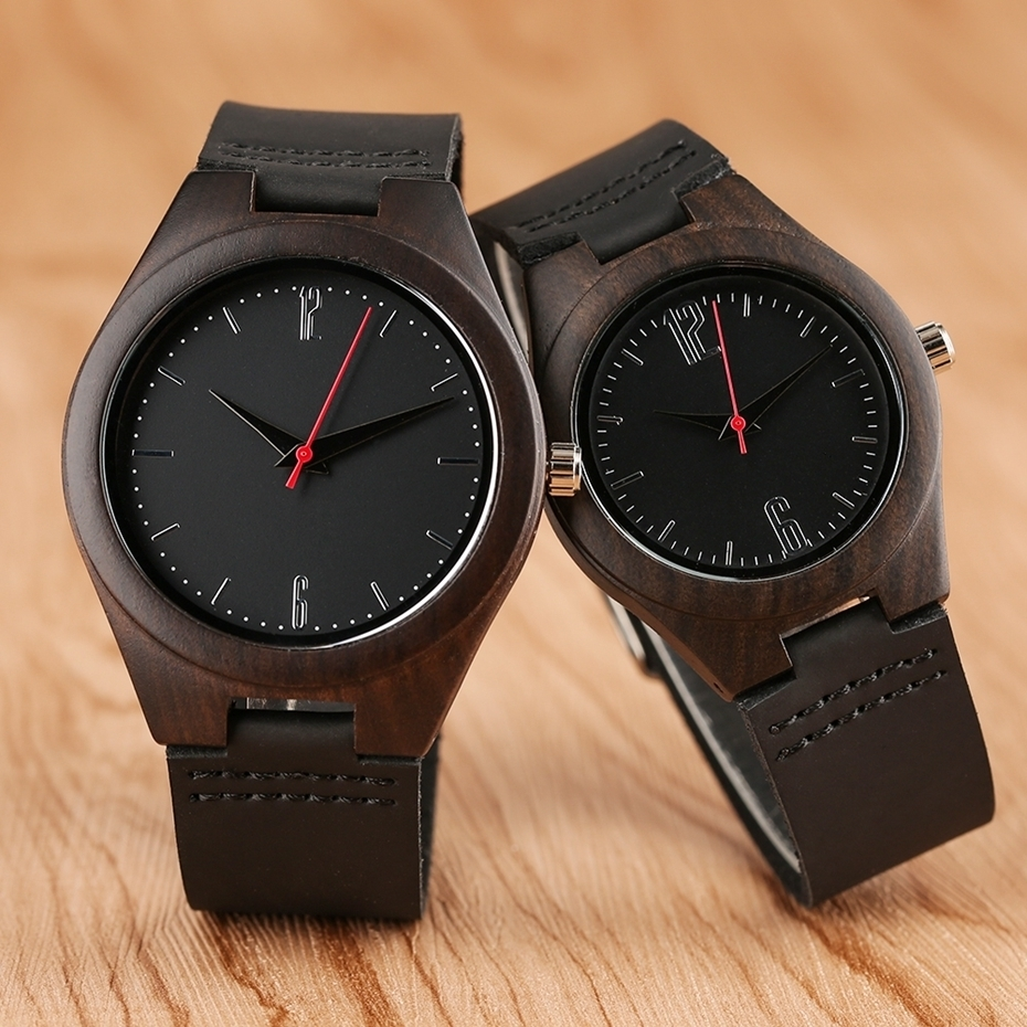 Lovers Gifts Luxury Royal Ebony Wood Watch Mens Fashion Wooden Women Dress Hour Clocks Soft Genuine Leather Relojes Wristwatches 2018 (2)