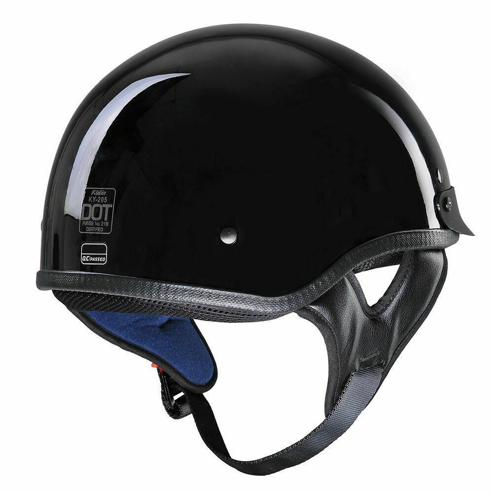 DOT German Leather Motorradhalbhelm Biker Pilotenbrille M L XL Helmet Cool Black