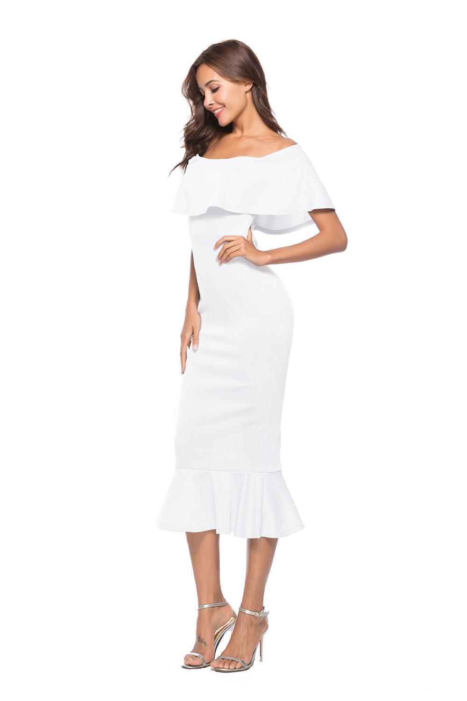 Lossky Women's Evening Party Dress Women Sexy Summer White Slash Neck Dress Mid Calf Ruffles Strapless Bodycon Fashion Dresses