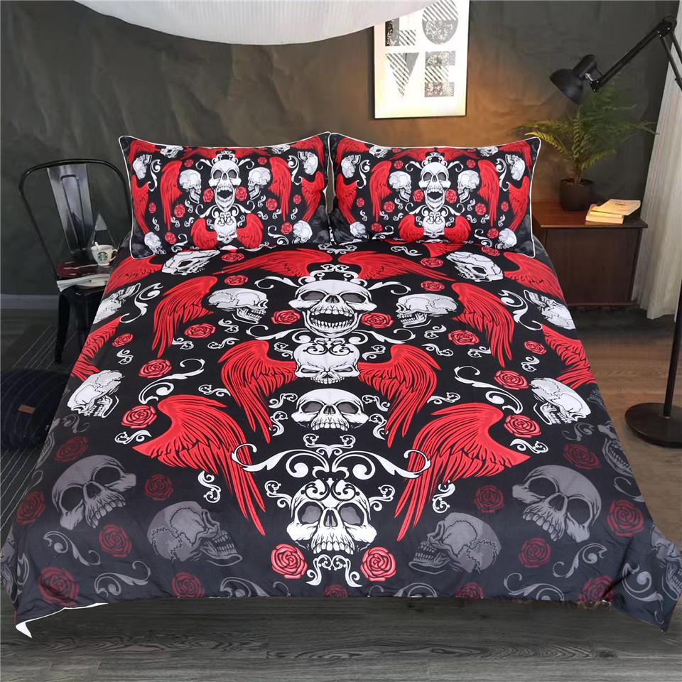 Housse De Couette Noir Blanc Gris crâne avec des ailes literie roses gothiques housse de couette hippie rouge  noir blanc adultes couvre-lit de vintage set de lit