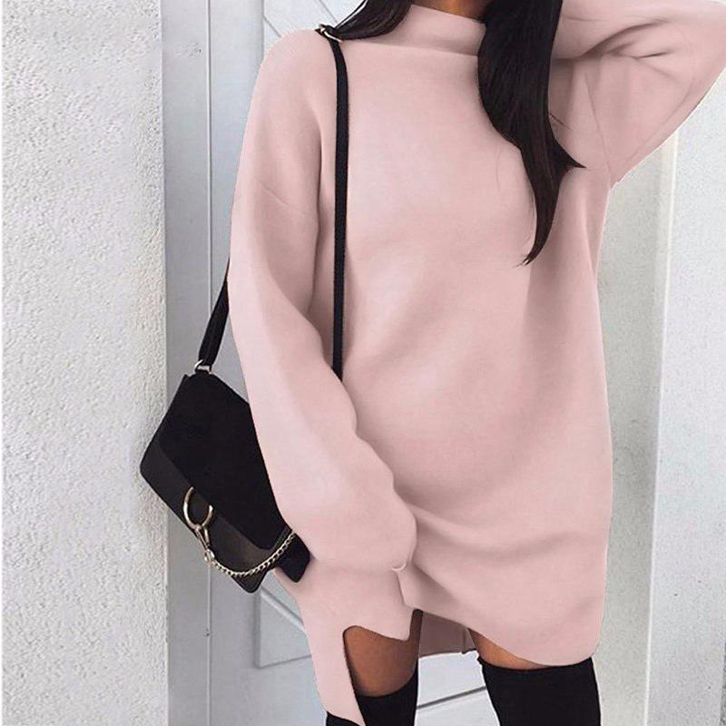 Herbst Kleid Kleider Winter Langärmlig Rollkragen Strick Bodycon Pullover Solid