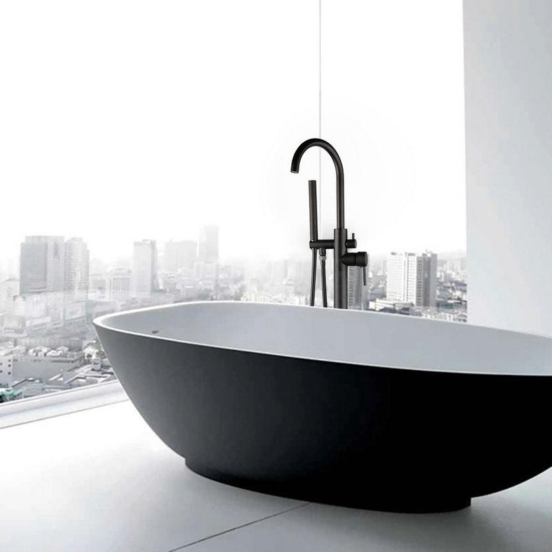 vente en gros noir ORB Matt Black High Rise Round Bath Spout Mitigeur Monté au sol Filler Baignoire Douche Robinet de baignoire romaine Set