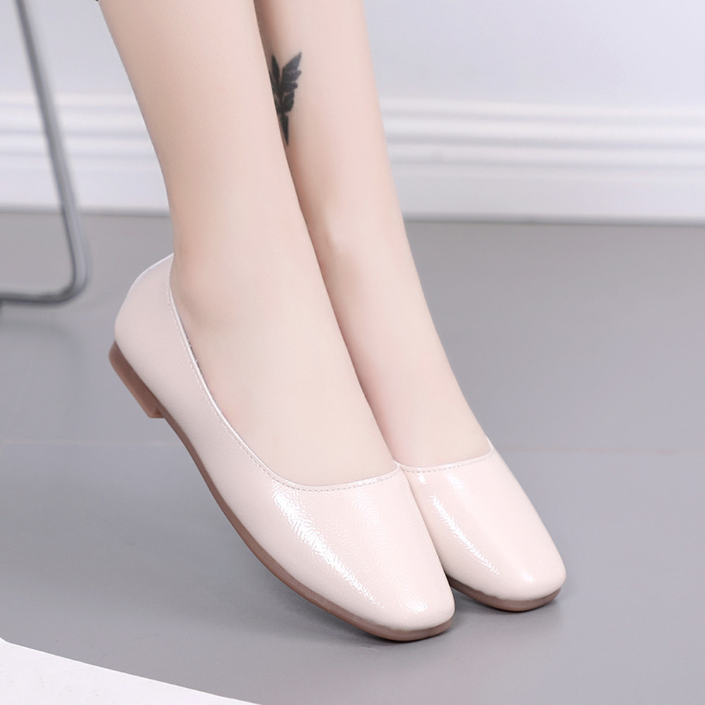 Hot sale Women Solid Color Shallow Square Toe Slip On Low Heel Shoes Single Shoes for dropshipping