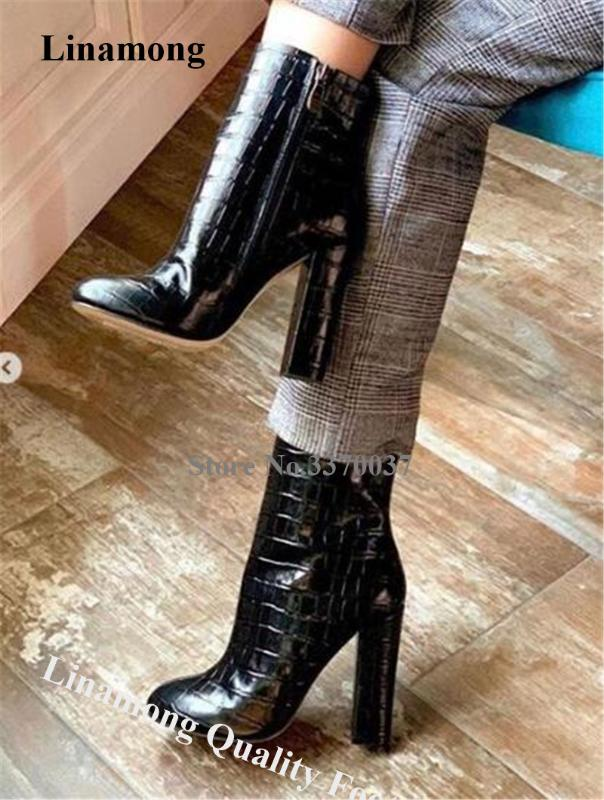 Vogue Womens Shoes Pointy Toe Zipper Carved Square Chunky Heel Ankle Boots Hot