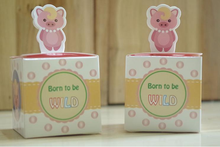 100 Stücke Katze Hund Panda Fuchs Eule Bär Schwein Hirsch Tiere Baby Shower Favors Süßigkeitskästen Geburtstagsfeier Geschenkboxen Schokoladenkästen