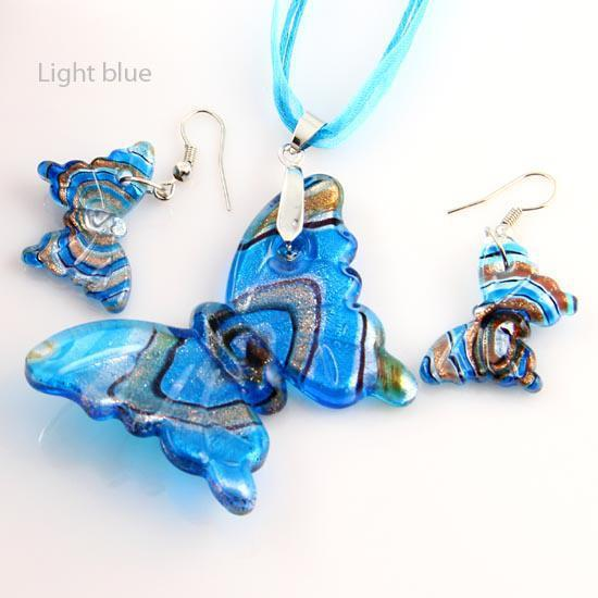 Butterfly sliver foil glitter lampwork blown venetian glass necklaces pendants and earrings sets Mus002 murano handmade glass