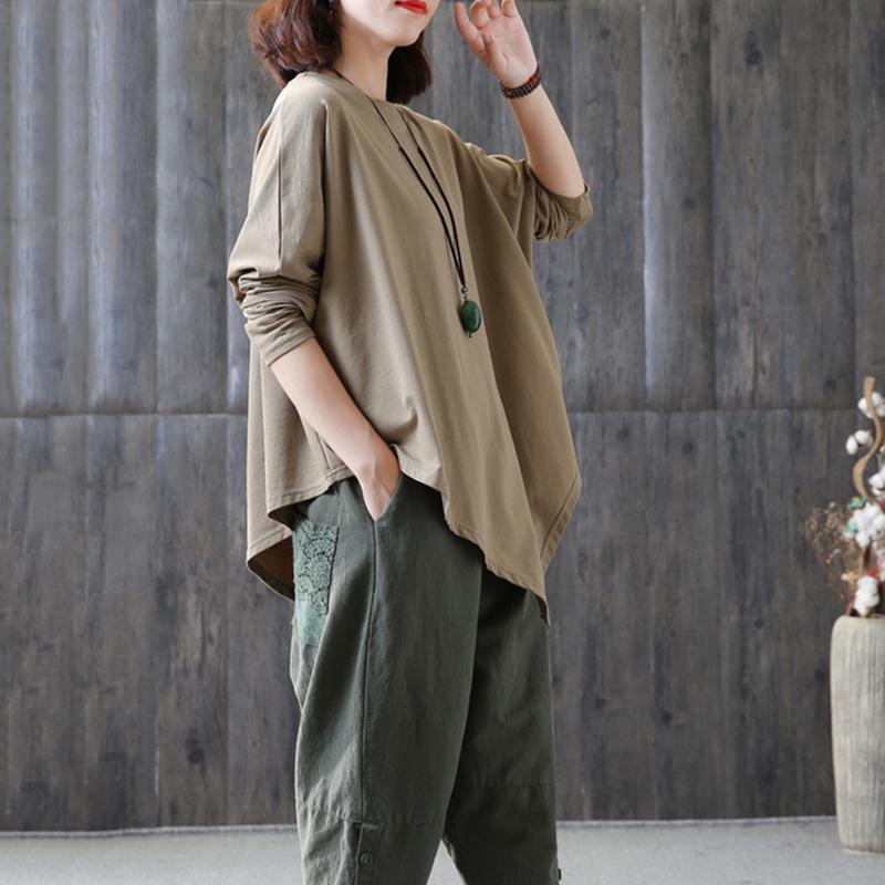 2019 Printemps Asymmetric shirts pour femmes O cou manches chauve-souris en vrac solide T Hem Oversize Hauts Femme coréenne Mode Tide