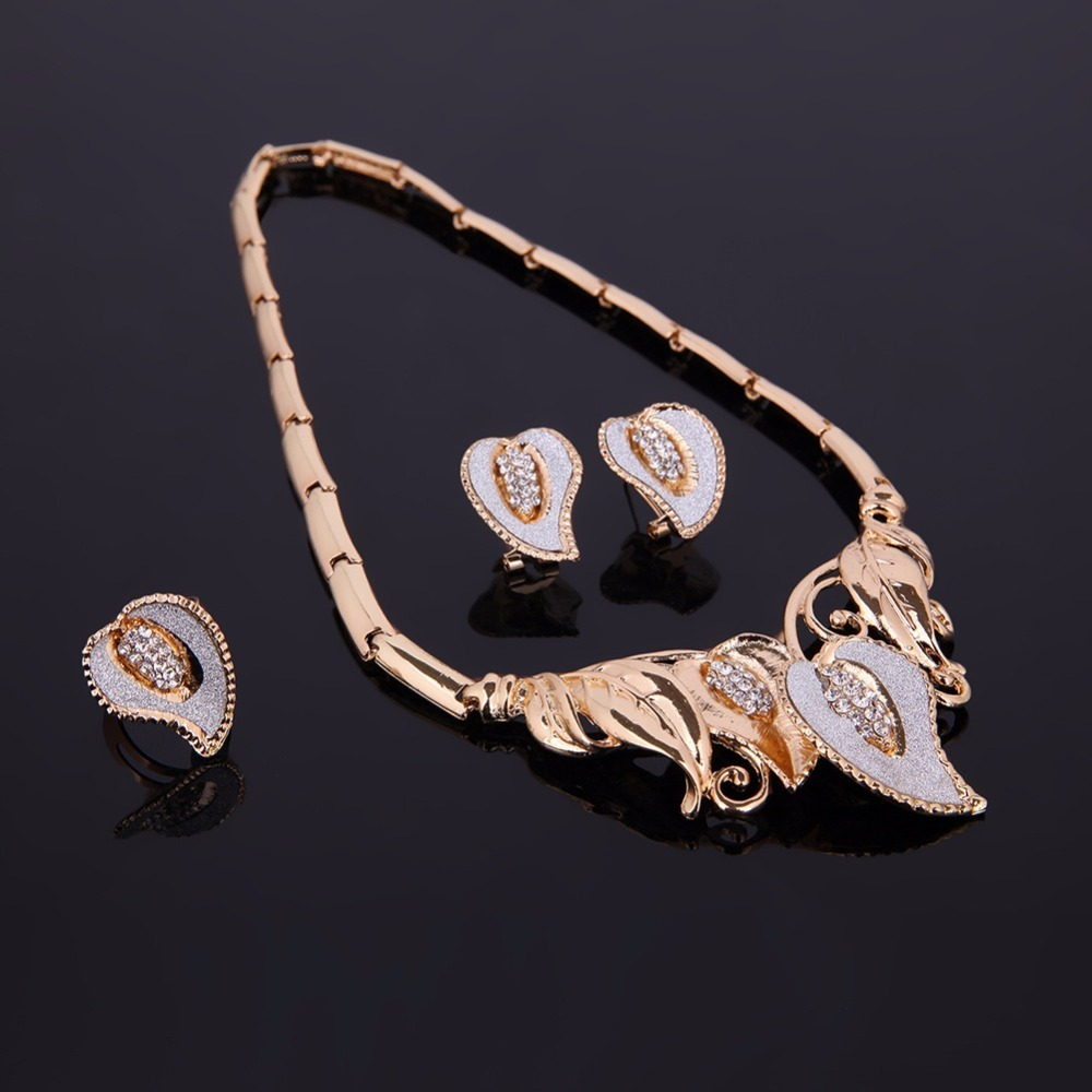 Ouhe Women Wedding Leaves Crystal Jewelry Sets Bridal Party Accessories Gold Color Necklace African Beads Statement Jewerly C19021601