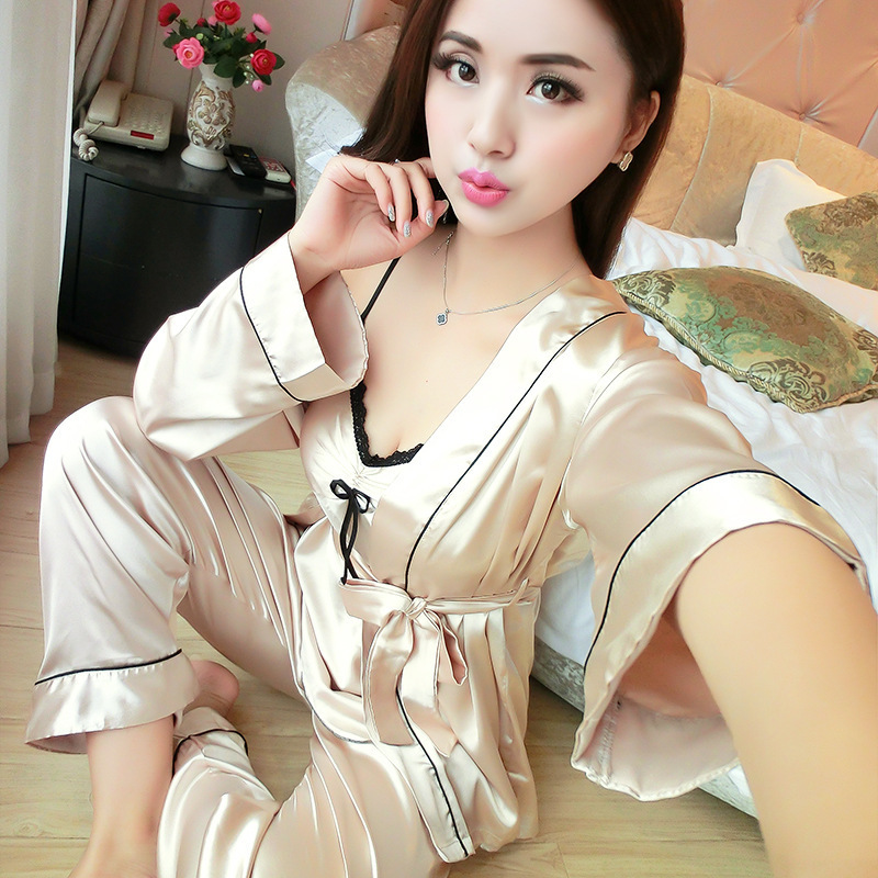 Sexy Pajamas Set Lace Sleepwear Women Casual Home Wear Satin Kimono Bathrobe Gown Bride Bridesmaid Wedding Robe Pyjamas Y19042803