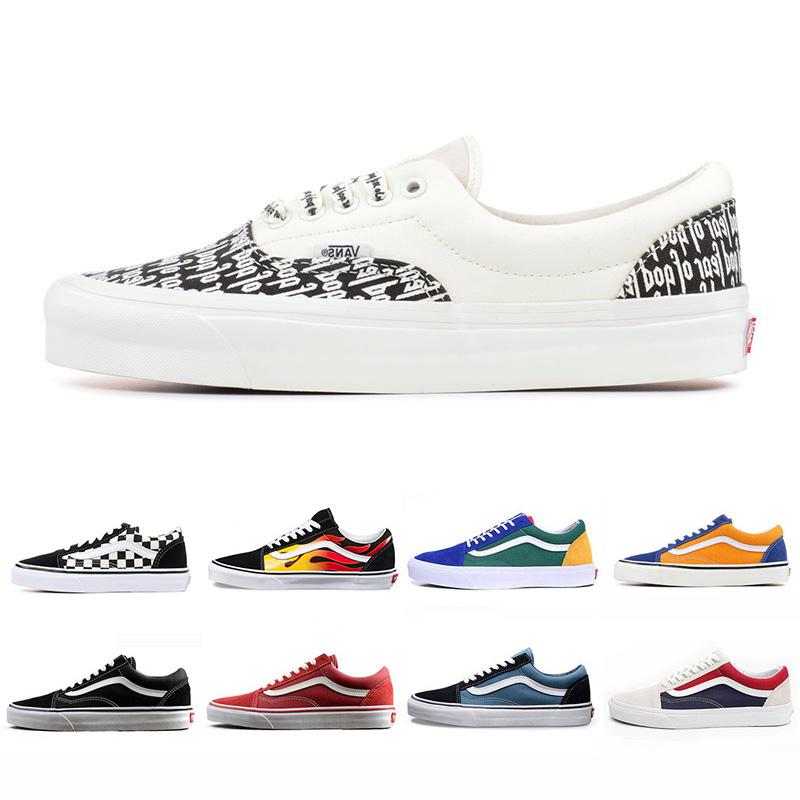 vans old skool sneakers Cheap Original Marque Running chaussures de sport  noir bleu rouge Classique mens femmes chaussures de sport en toile ...