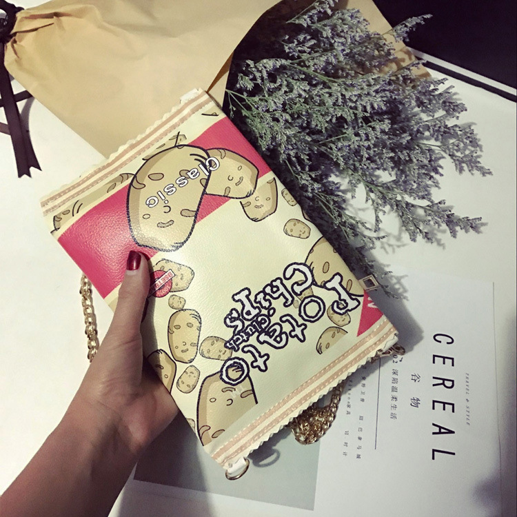 Korean Style Fashion Cartoon Cute Potato Chips Snacks Handbags Creative Personality Flap Bags For Female