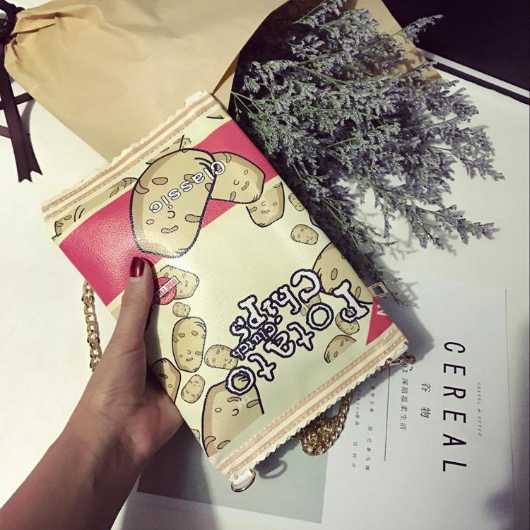 Бесплатная доставка корейский стиль мода мультфильм милые картофельные чипсы закуски сумки творческий личность лоскут сумки