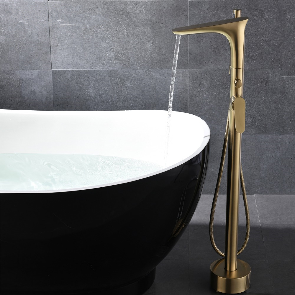 Free Standing  Bath tub round polished rose gold Mixer Freestanding spout filler