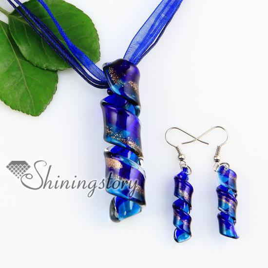 twist glitter lampwork murano Italian venetian handmade glass pendants and earrings jewelry sets Mus048 cheap china fashion jewelry