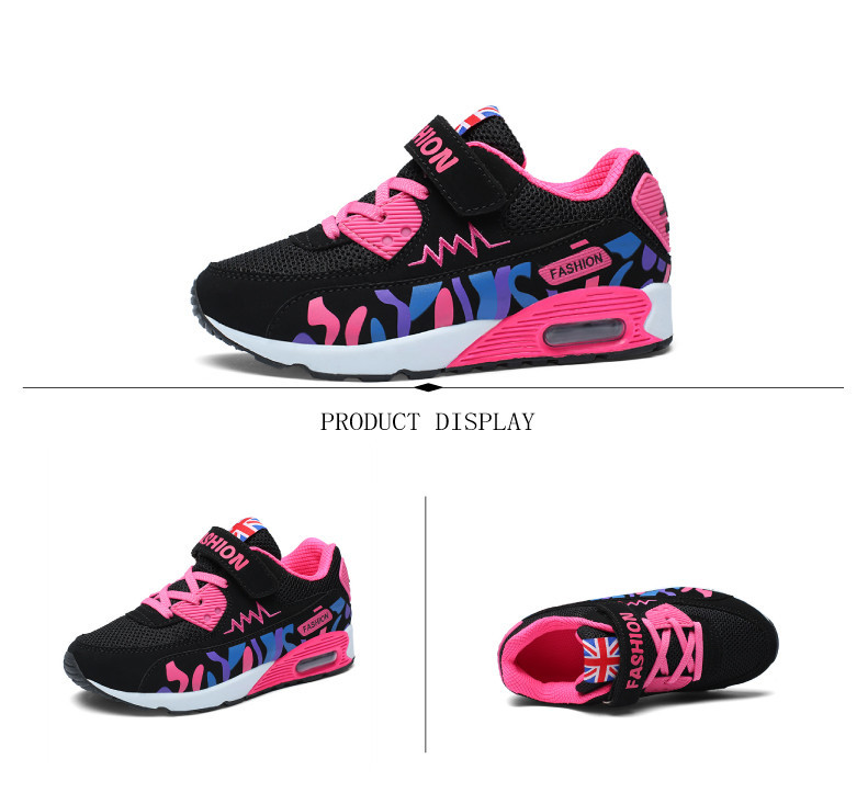 2019 Children Casual Shoes For Girls Running Comfortable Elastic Air Cushion Shoes Fashion Kids Sneakers Breathable Sport Shoes (8)