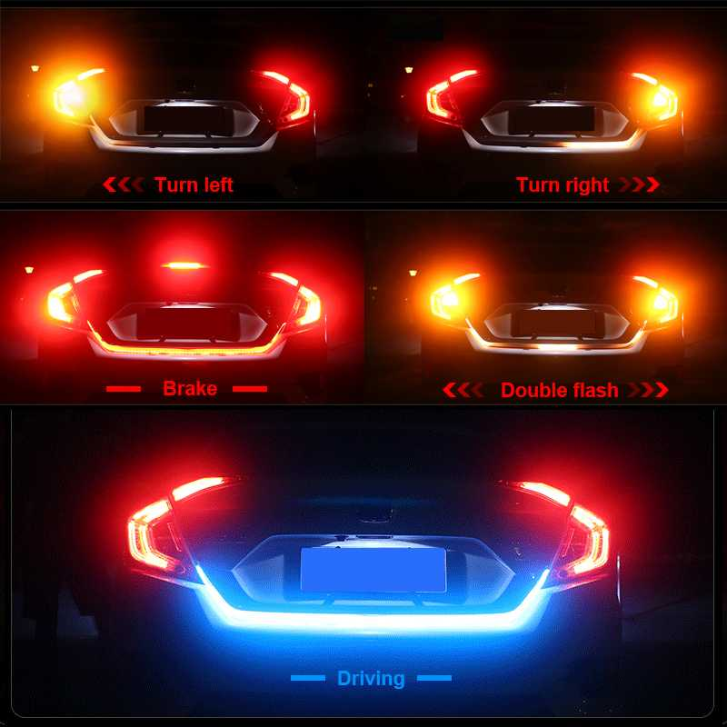 12V 100cm 4in1 144LED Car Truck Rear Red LED Dynamic Streamer Brake Light Strip