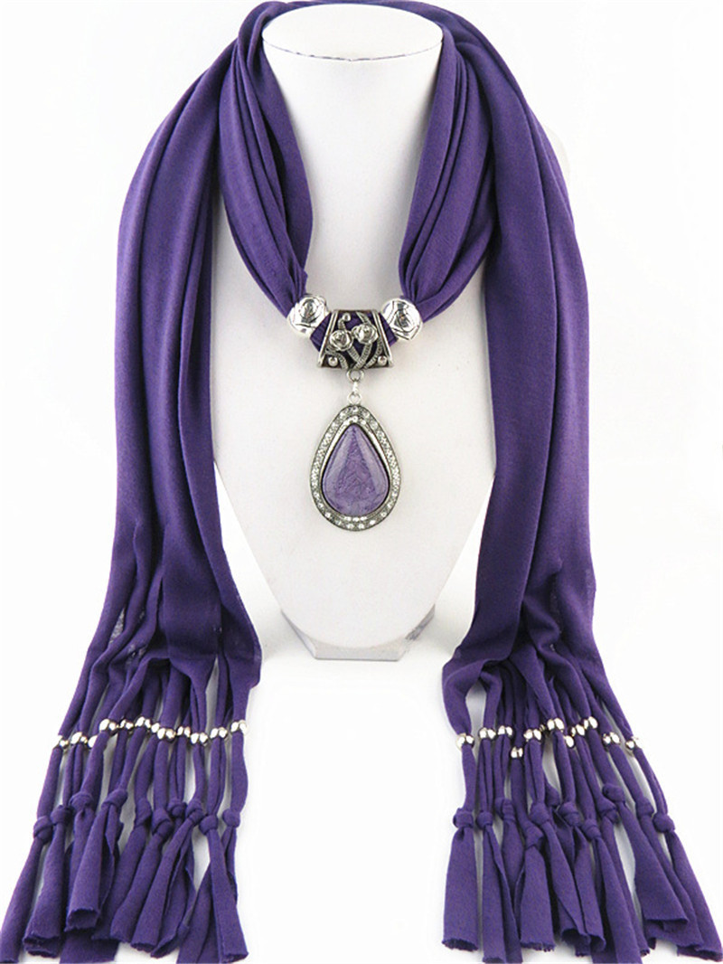 wholesale Big Red Stone Necklaces & Pendants Scarf Lady Jewelry Polyester Shawl Bohemia Statement Necklace Christmas Gifts Collane