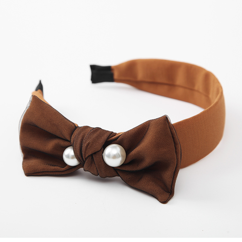 10 brown bow hairband for women