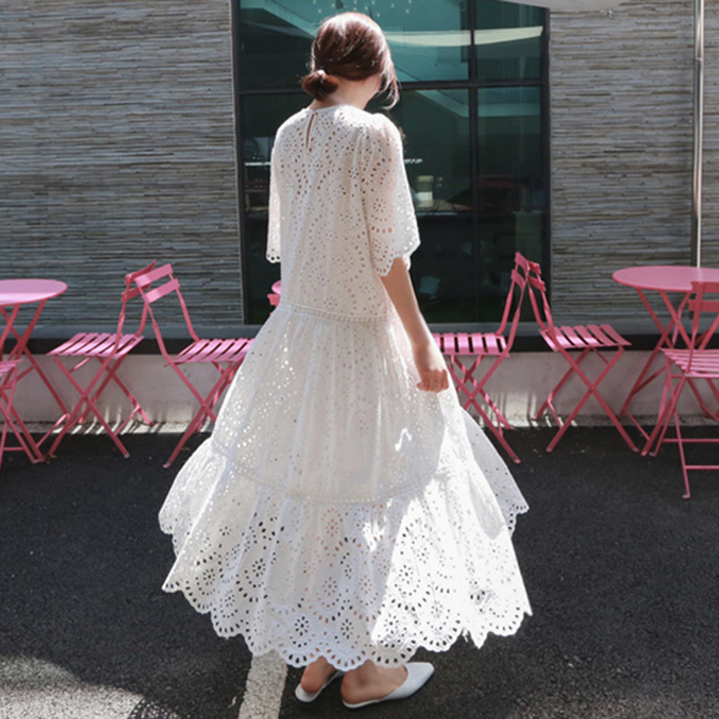 TWOTWINSTYLE Hollow Out Dress Summer Oversize Big Hem Elegant Beach Dress Female With Spaghetti Strap Dresses 2018 Sweet Clothes T190604