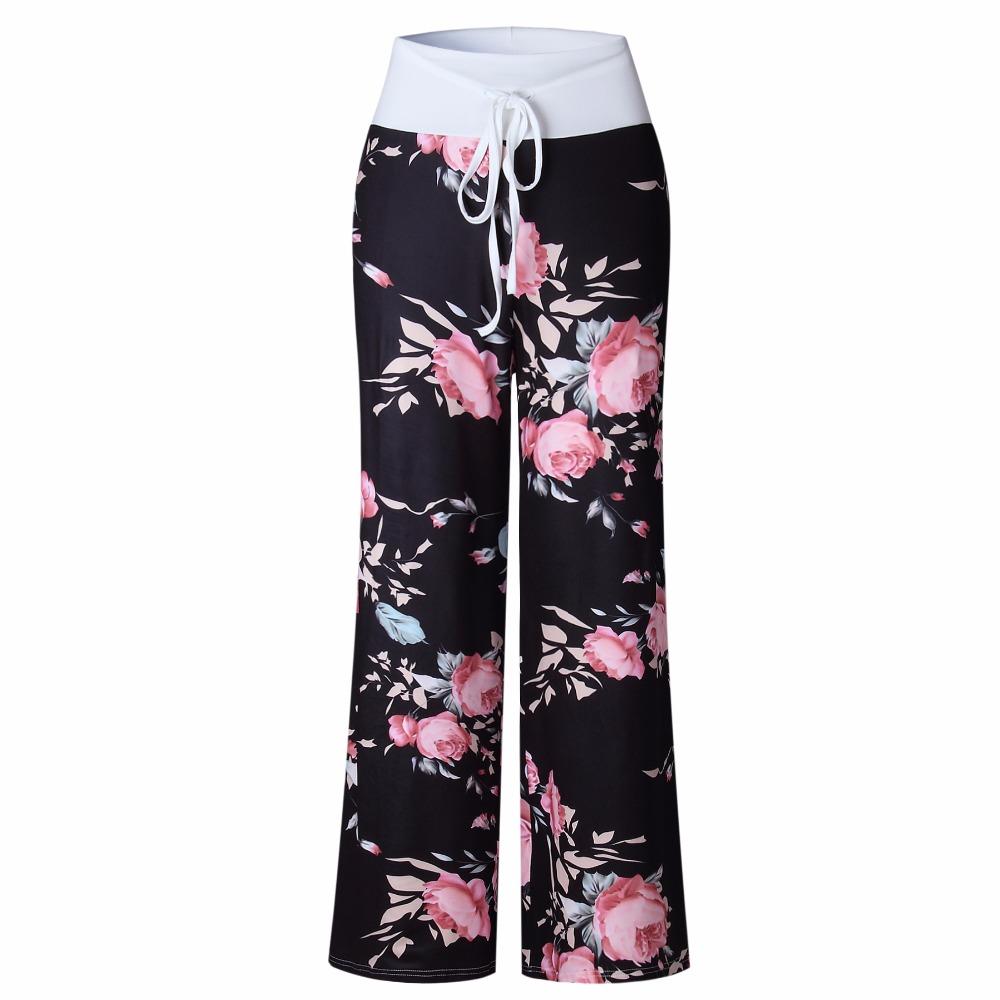 LadIies Flower Printed Straight Pants Women Loose Long Wide Leg Trousers S-XXXL