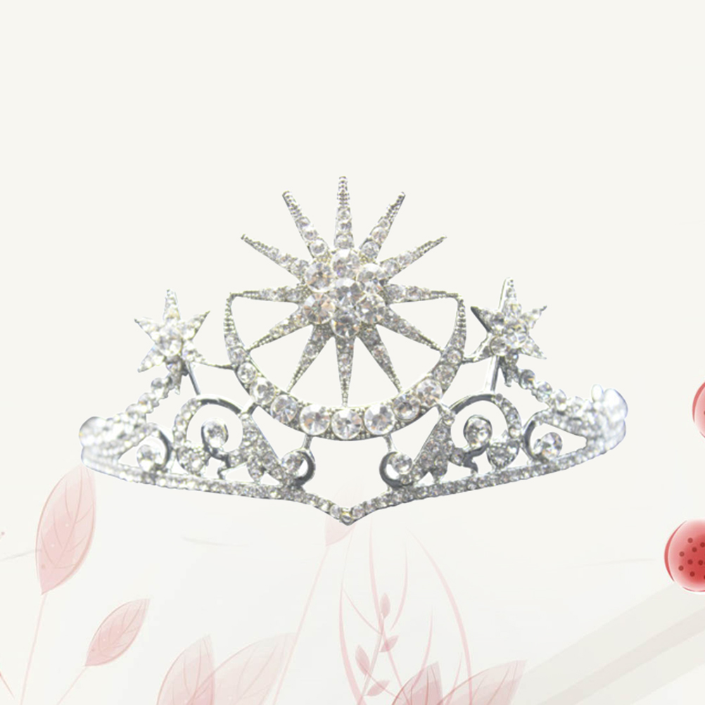 Tiara Crowns Rhinestone Star Moon Chic Brides Crowns Jewelry Headwear Hair Accessory for Engagement Banquet Wedding