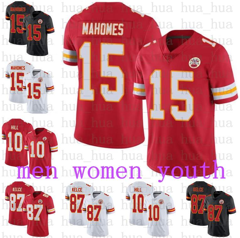 Men Women KansasCityYouth Chief15 Patrick Mahomes 87 Travis Kelce 10 Tyreek Hill Football Jerseys