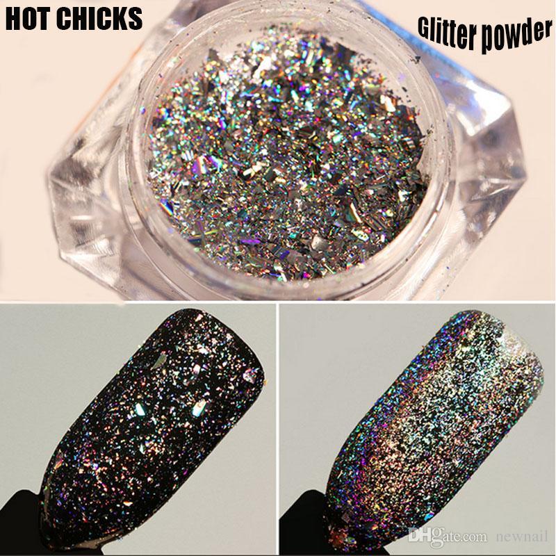 High gloss shiny 0.5g/box Galaxy Holo Nail Flakes Bling Rainbow Laser Nail Art Sequins Holographic Glitter Powder Paillettes