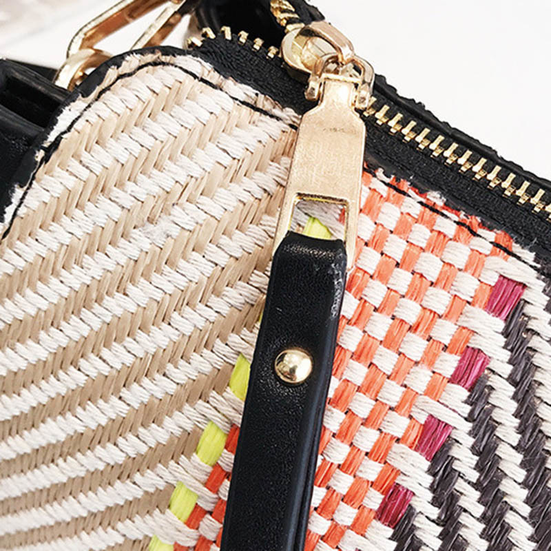 Hot Women Panelled Handbag INS Popular Female Casual Summer Straw Bags Lady Beach Shoulder Bag Fashion Travel Woven Tote SS7221 (3)