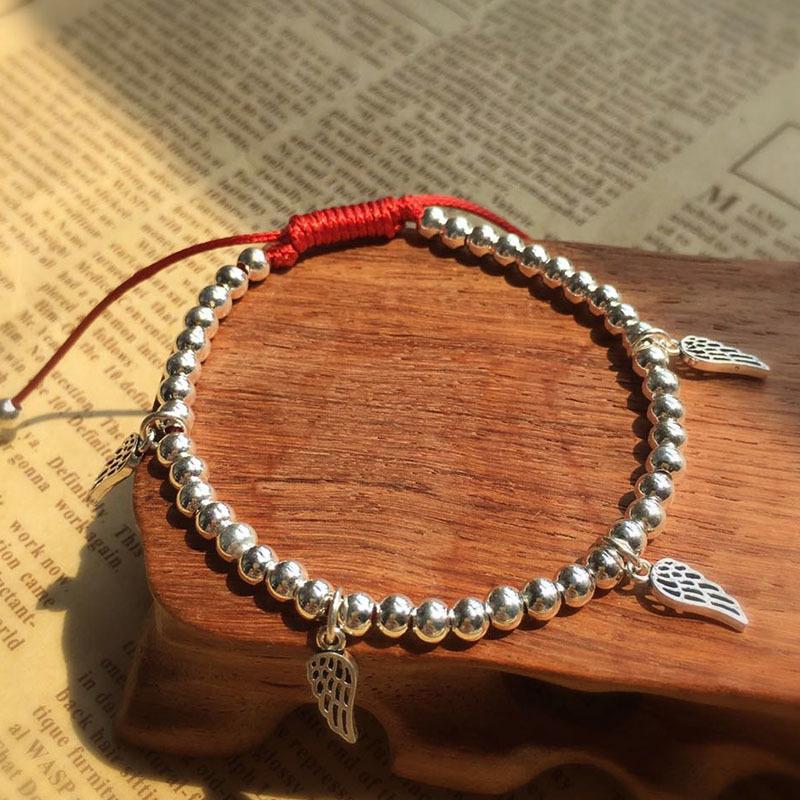 Lucky Wings Bracelet 925 Sterling Silver Beads Gift For Women Handmade Charm Bangle Jewelry J190707