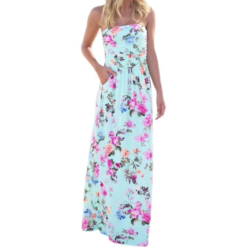 Damen Maxikleid Blumen Chiffon Lang Sleeveless Sommer Strand Freizeit Partykleid